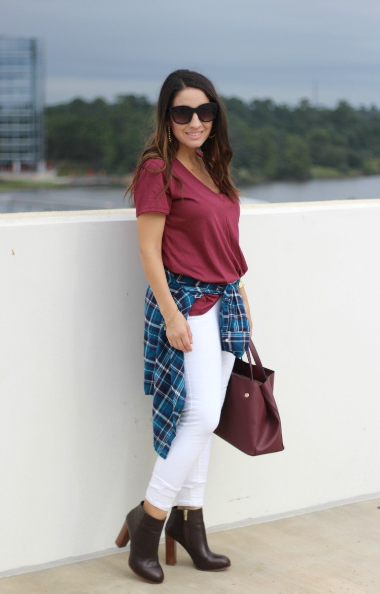 Lush T-Shirt, BP Plaid Button down, White Old Navy Jeans, and Vince Camuto booties, Pretty In Her Pearls, Style Blogger, 90's Style, Petite Style