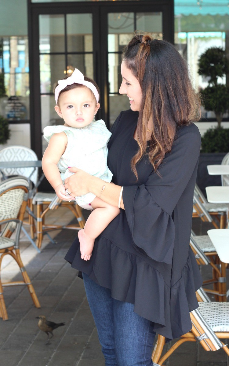 Mommy and me outing, Ruffled hem top, dark denim, and nude heels, Pretty In Her Pearls, Style Blogger, Petite Style Blogger