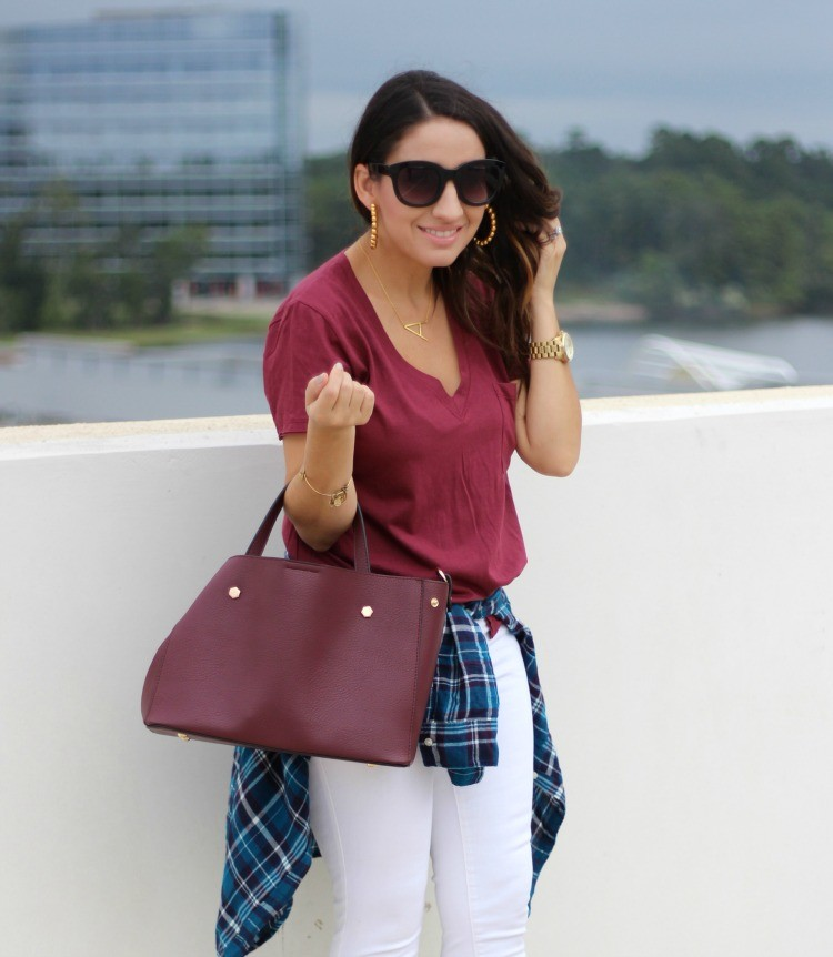 The perfect Lisi Lerch Hoops, Lush T-Shirt, BP Plaid Button down, White Old Navy Jeans, and Vince Camuto booties, Pretty In Her Pearls, Style Blogger, 90's Style, Petite Style