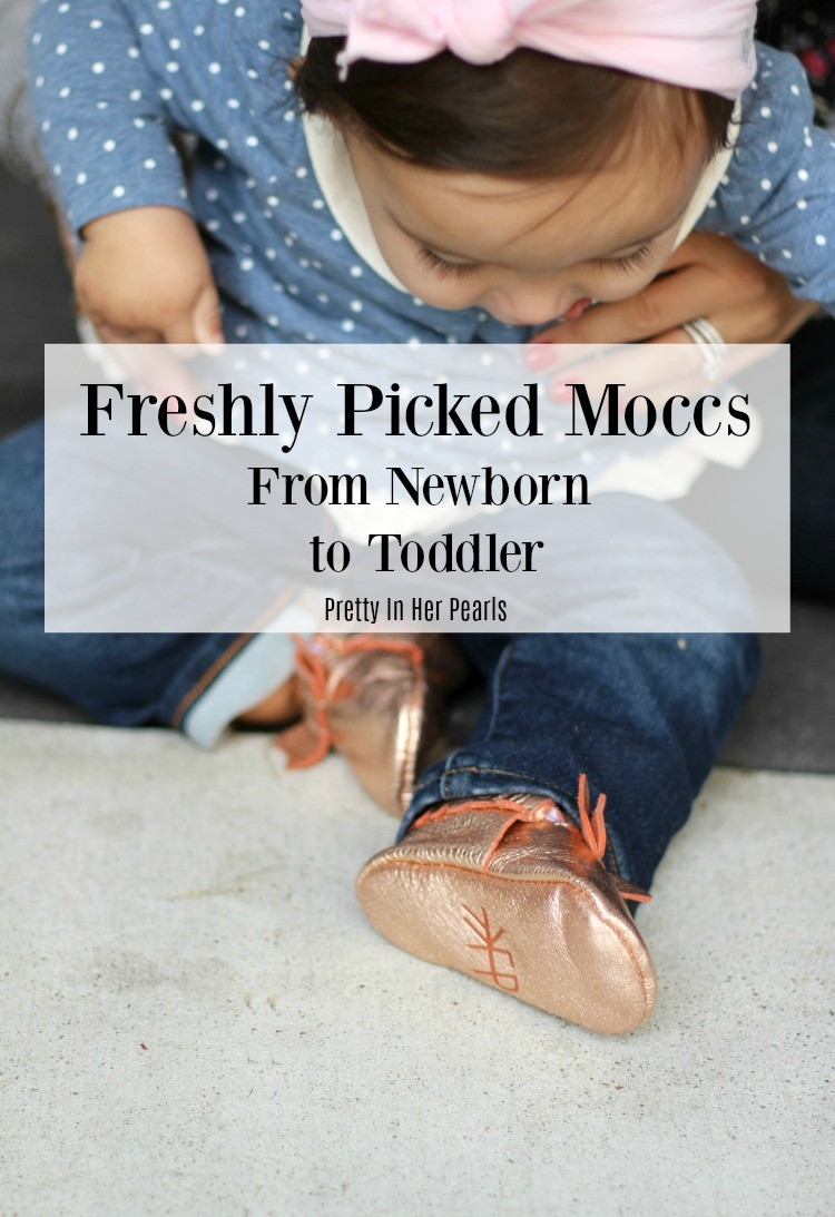 Freshly Picked Moccs From Newborn to Toddler, Pretty In Her Pearls, Mom Blogger, Girl Mom, Baby Girl Mom, Freshly Picked Moccs with a bow, Houston Blogger, Houston Mom Blogger, #Houstonblogger, #momblogger, #freshlypickedmoccs, #freshlypicked,