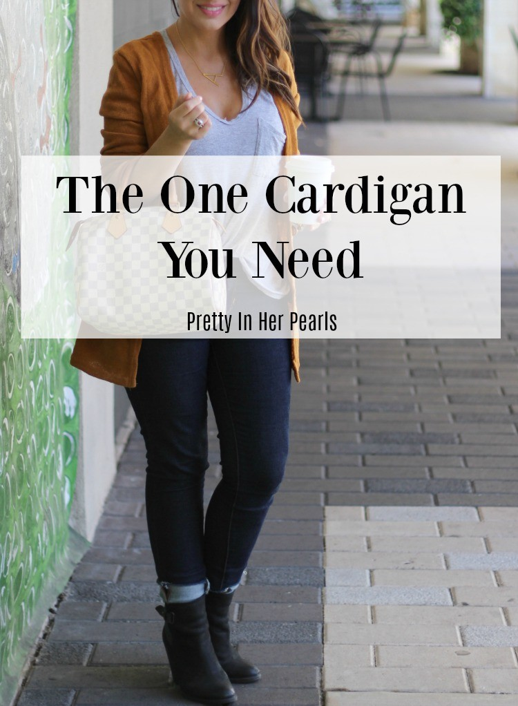 The one cardigan you need, Cozy cardigan, denim, booties and sunnies, Pretty In Her Pearls , Houston Blogger, Petite Blogger,