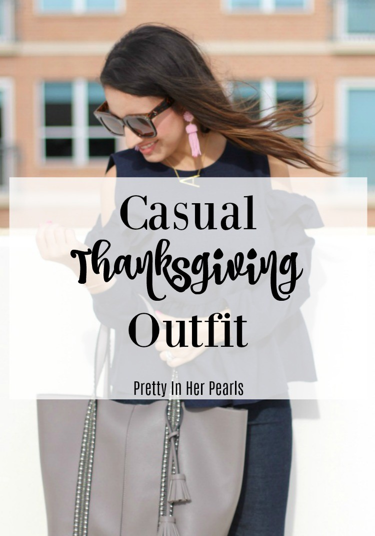 Casual Thanksgiving Outfit, Ruffle cold shoulder top, skinny jeans, and nude booties, Pretty In Her Pearls, Houston Blogger, Petite Blogger