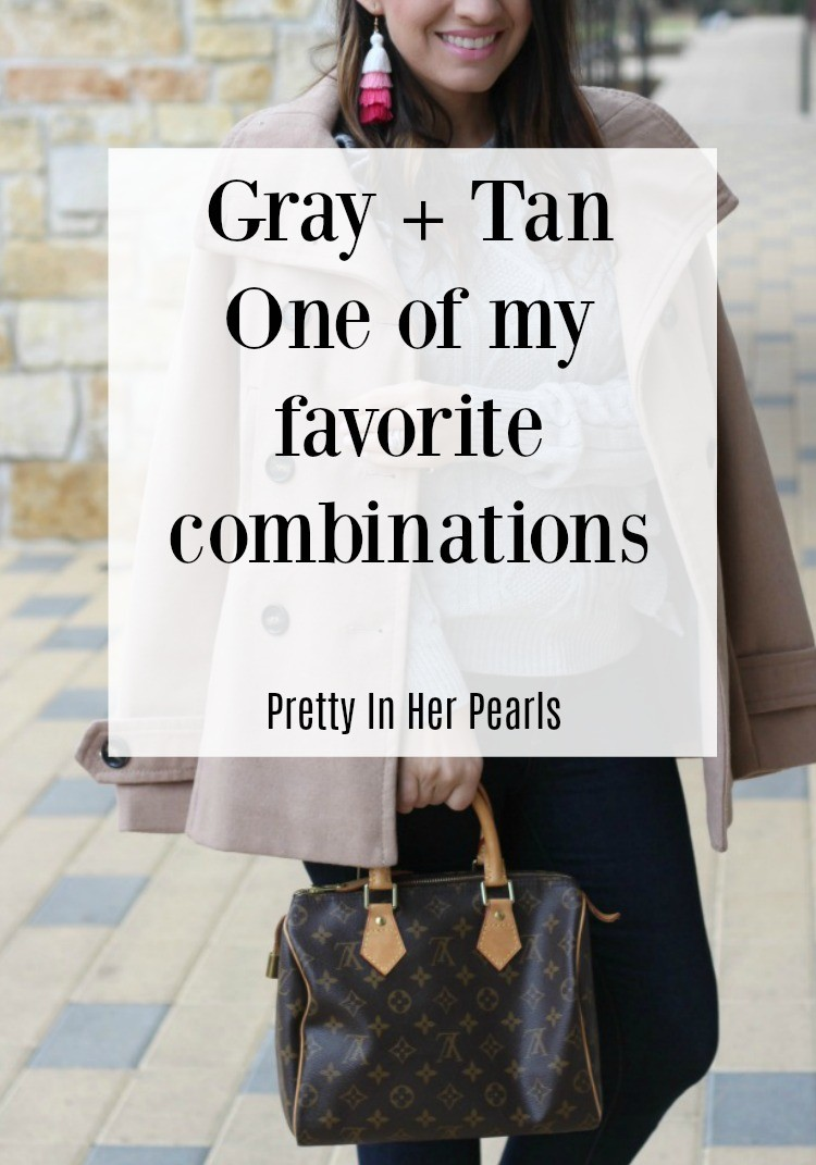 Gray + Tan One of my favorite combinations, You can wear tan and grey together, Gray & Taupe, Pretty In Her Pearls, Houston Blogger, Style Blogger, Romwe, #Tan+Gray, #Youcanweartanandgreytogether
