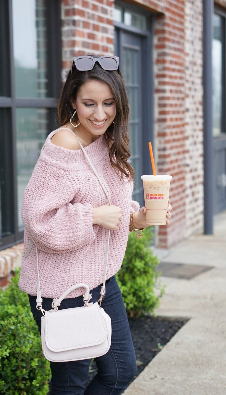 Off The Shoulder Pink Sweater Pretty In Her Pearls