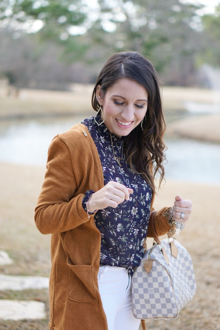 What to wear to a baby shower, Cardigan and the perfect navy blouse, must have white denim, Pretty In Her Pearls, Houston Blogger, Mom Blogger