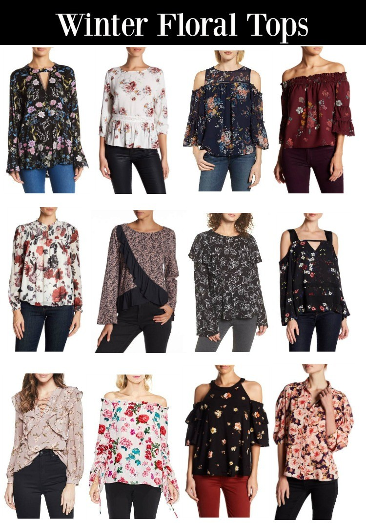 Winter Floral Tops, Floral Tops, Pretty In Her Pearls, Houston Blogger, Style Blogger, Winter Tops