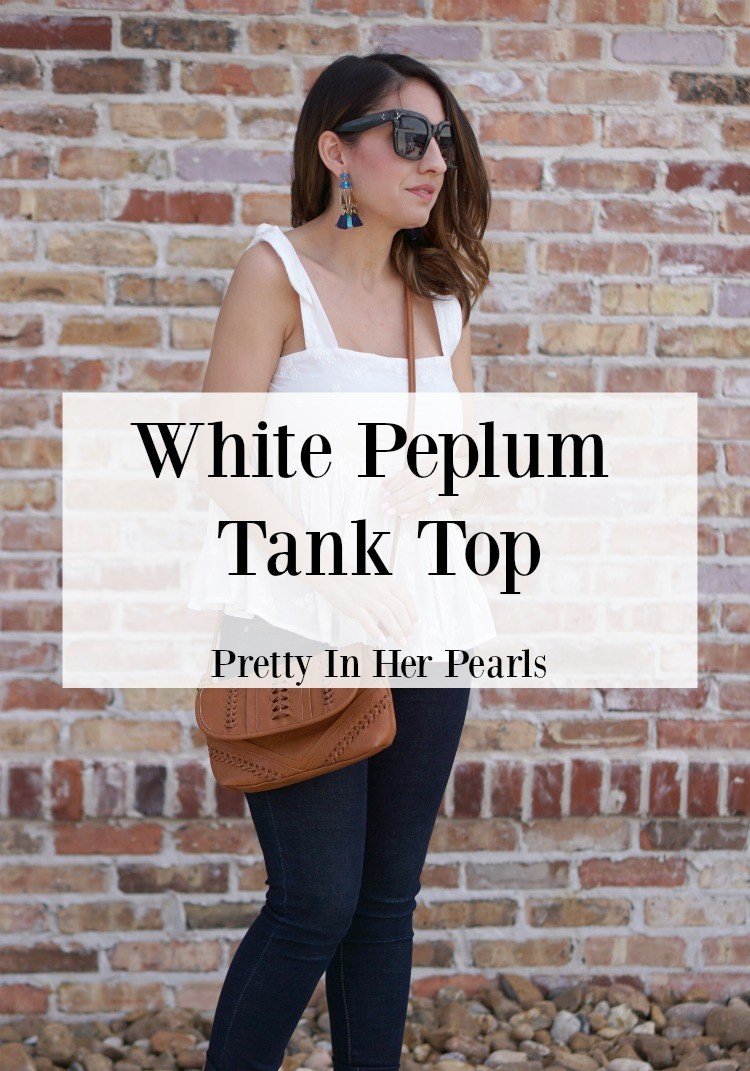 White Peplum Tank Top, Cute spring top, Petite blogger, Petite style, Fashion, Style, Pretty In Her Pearls, Nordstrom, Happiness Boutique