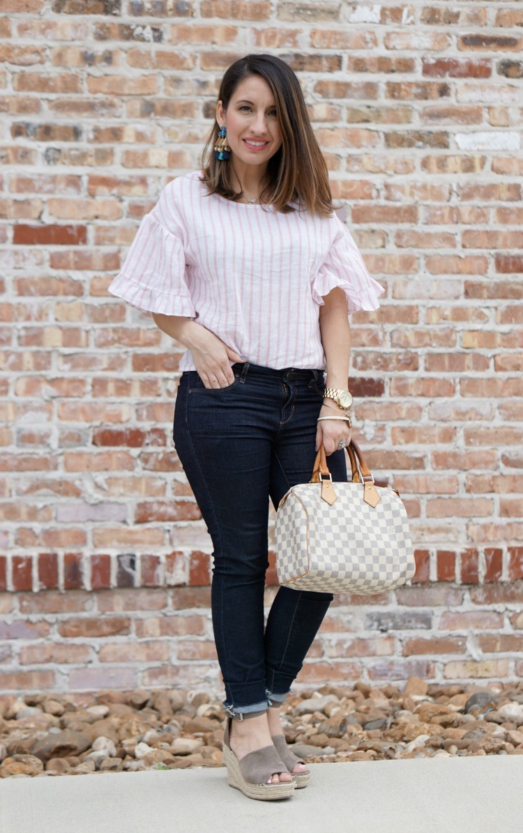 Statement earrings, BP Top, Articles of Society jeans, and sandals, Pretty In Her Pearls, Houston Blogger, Mom Blogger, Spring Fashion,