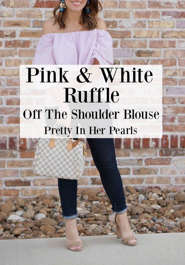 Pink & White Gingham Checks Ruffle Blouse , skinny jeans, and heels, Pretty In Her Pearls, Houston blogger, Fashion blogger, Petite blogger, Petite fashion blogger, Nordstrom ,Wayf, Ruffle top, Off the shoulder top, Pink and white stripes,