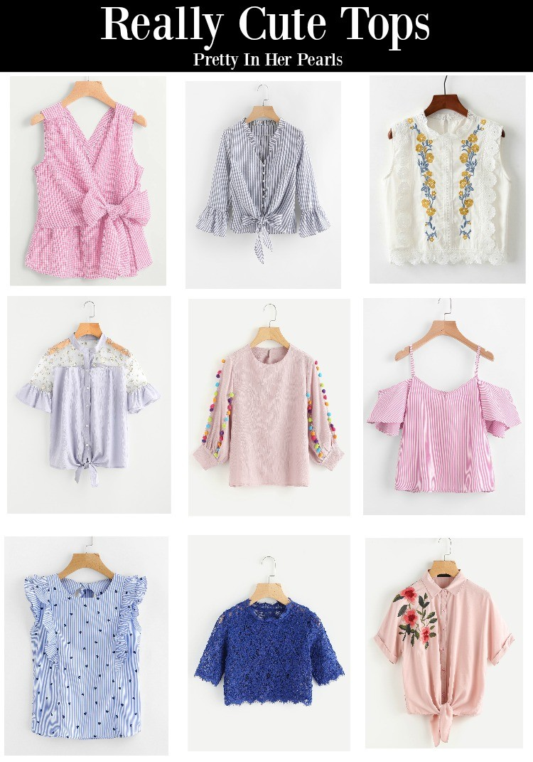 Really Cute Tops, Pretty In Her Pearls, Houston blogger. Cute spring tops, Cute tops, Fun tops
