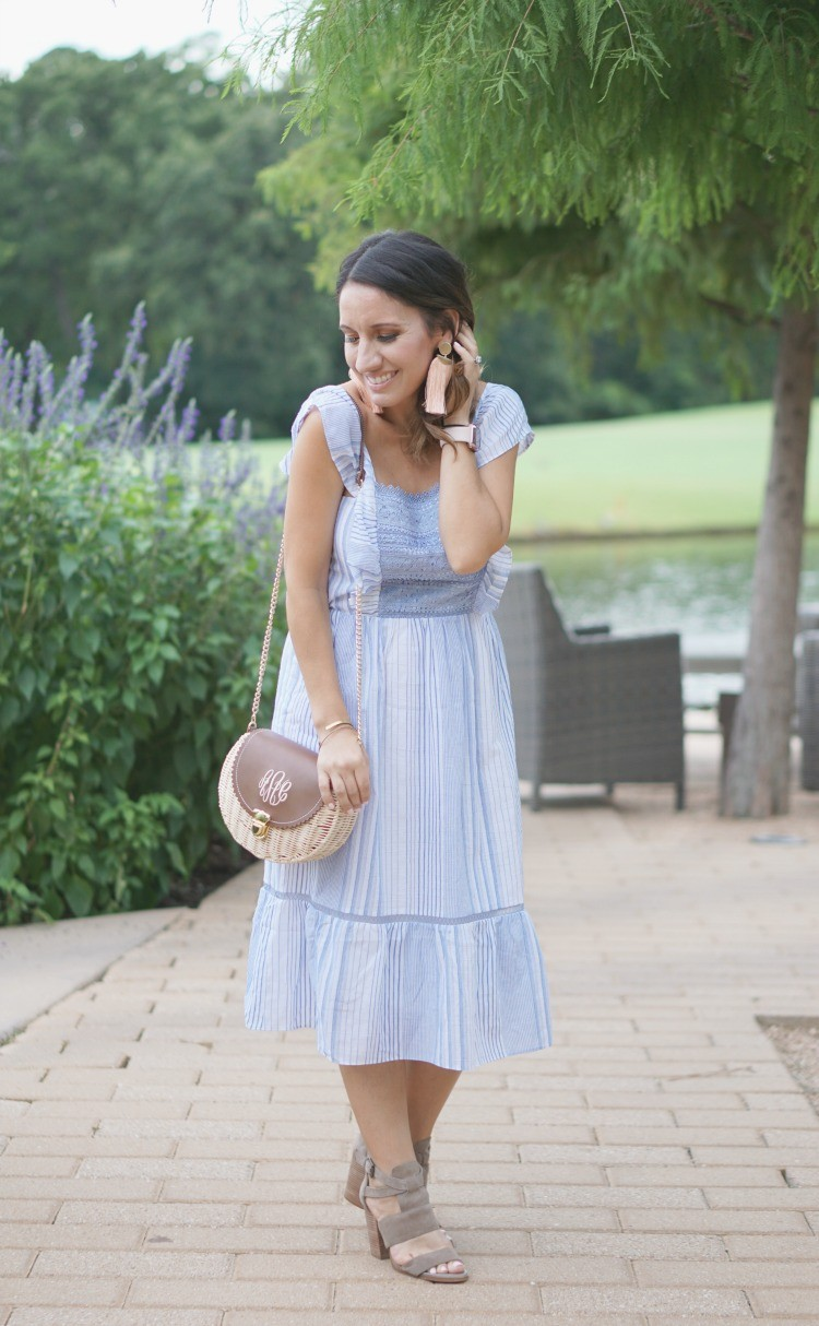 Stripe Ruffle & Lace Sundress, Stella & Ruby earrings, and monogramed Marley Lilly Handbag
