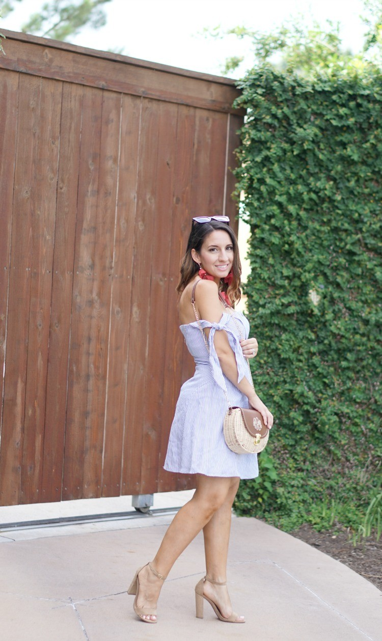 Blue and White Fit and Flare Dress and Marley Lilly Handbag