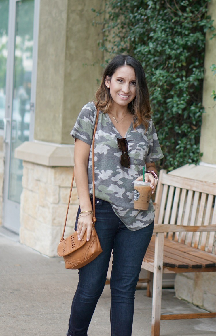 Camo T-Shirt, Skinny Jeans, and Brown purse