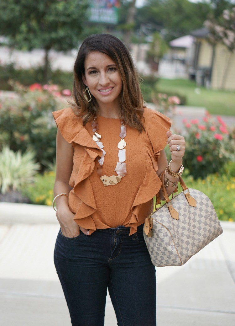 Seersucker Ruffle Top, Stella and Ruby Necklace