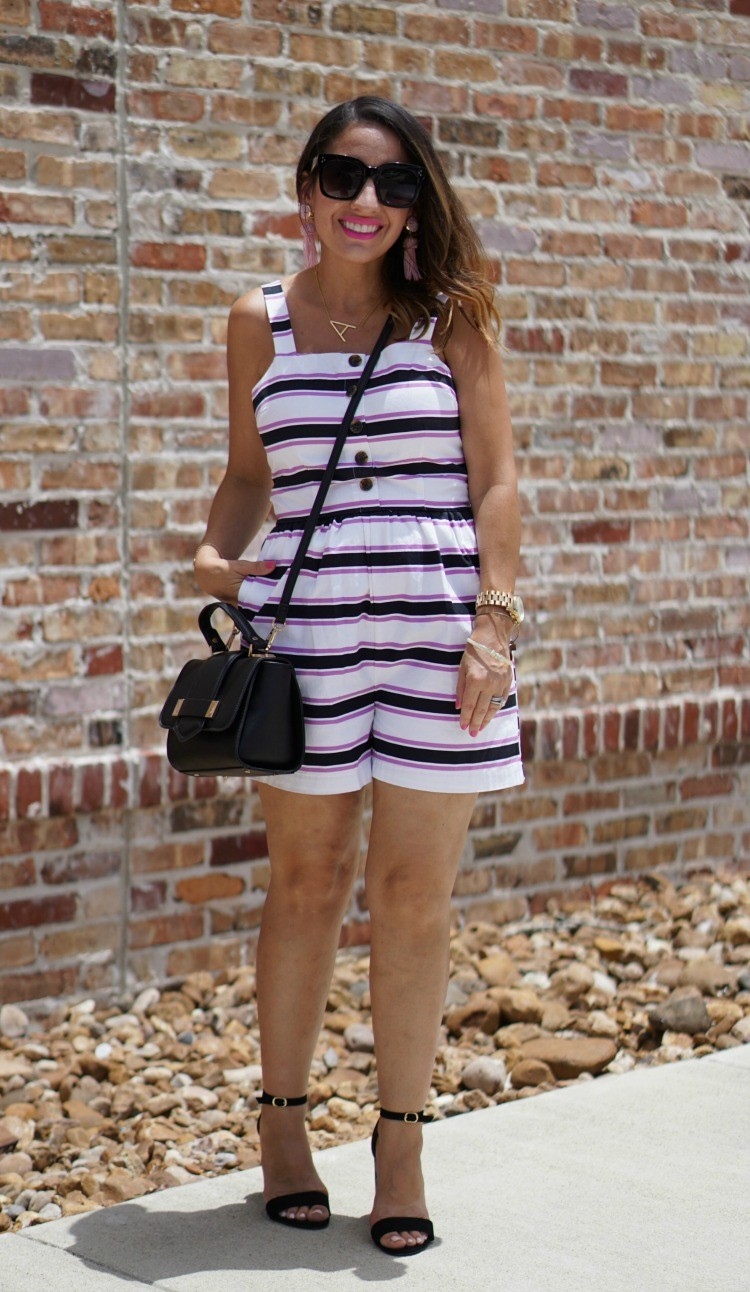 Who What Wear Striped Romper