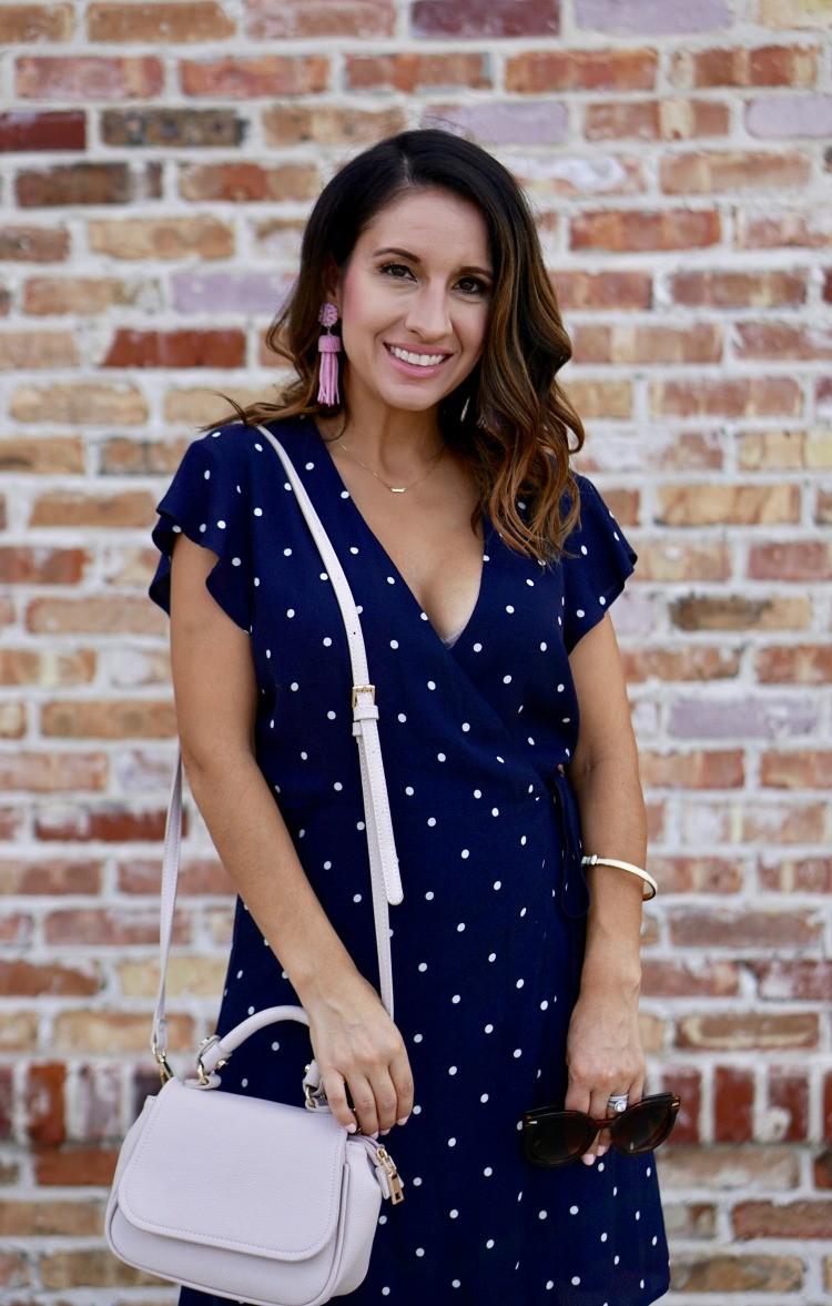 Blue and White Polk a dot wrap dress