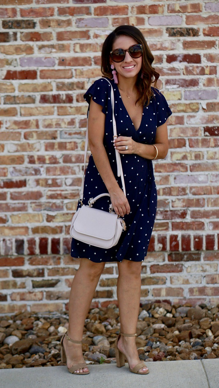 Blue and white wrap dress and nude heels
