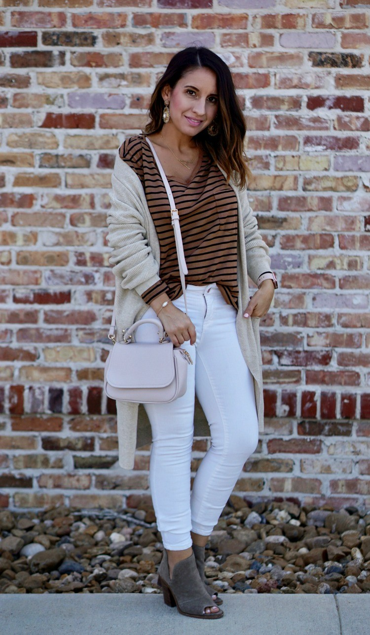 Lisi Lerch statement earrings, and the perfect lip color, Cardigan, striped top, white jeans, Casual cute ootd, Petite Outfit, Pretty In Her Pearls