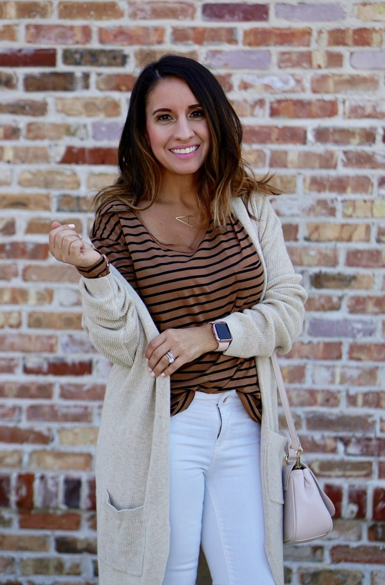 Cardigan, striped top, white jeans, Casual cute ootd, Petite Outfit, Pretty In Her Pearls