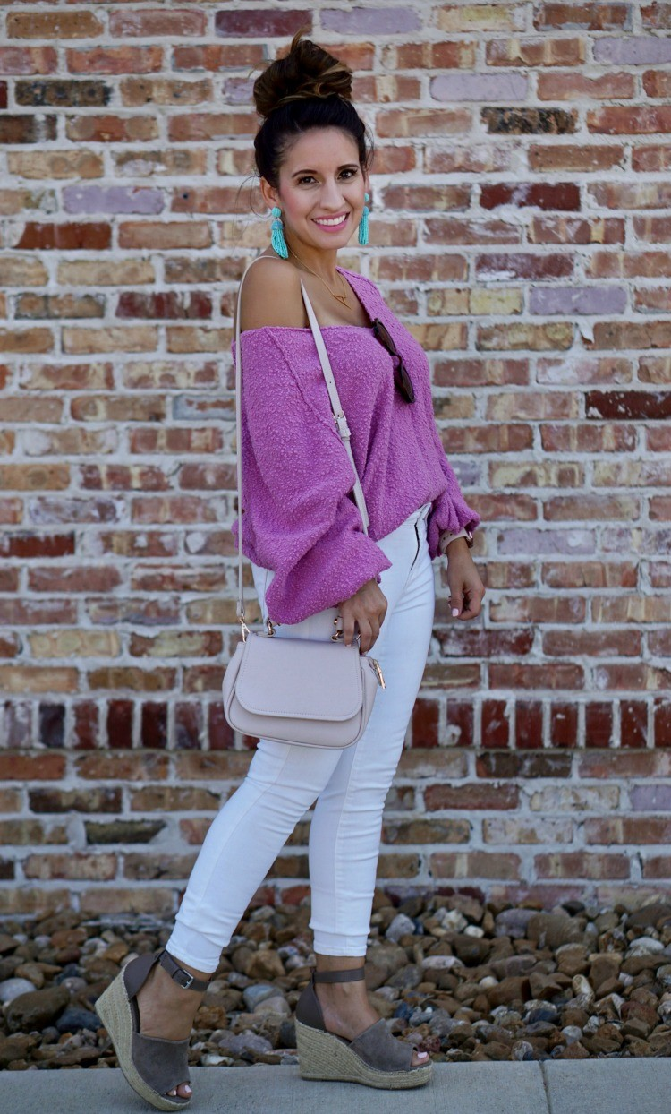Slouchy Drop Shoulder sweater, skinny jeans, wedges, and a topknot