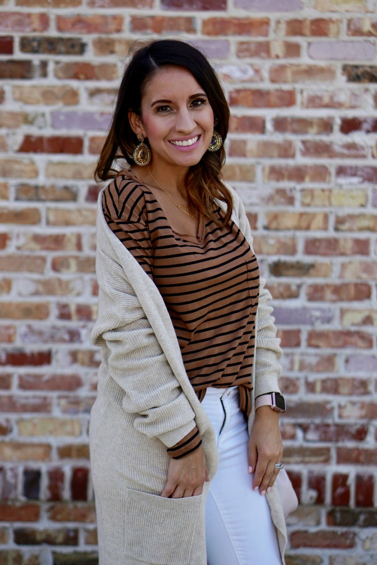 Statement earrings, cardigan, cute tee, and jeans, Lisi Lerch statement earrings, and the perfect lip color, Cardigan, striped top, white jeans, Casual cute ootd, Petite Outfit, Pretty In Her Pearls