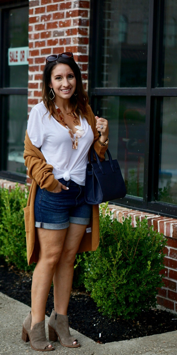 The perfect fall cardigan and shorts