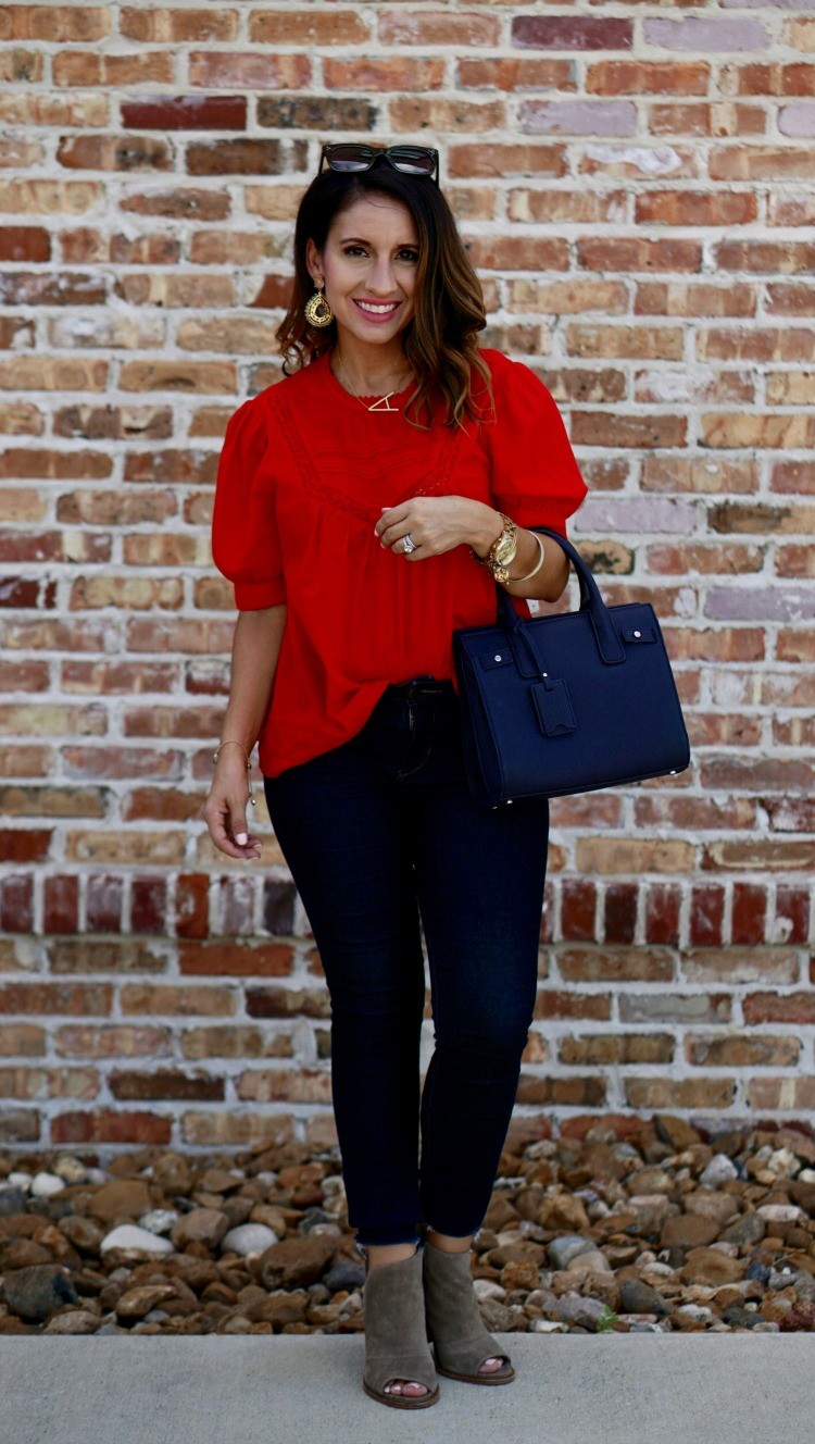 The sweetest red top and dark skinny jeans