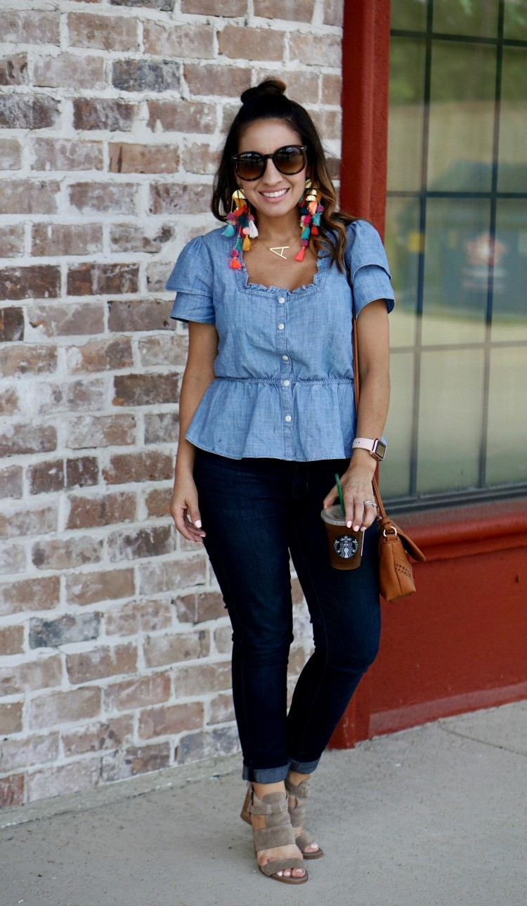 Chambray Ruffle Sleeve Peplum Top, dark skinny jeans and statement earrings