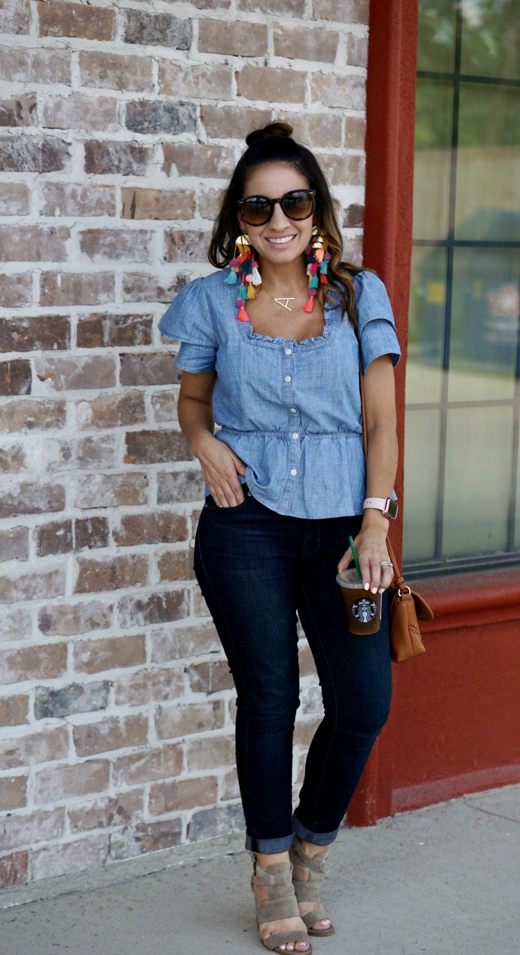 Chambray top, dark skinny jeans, and heels