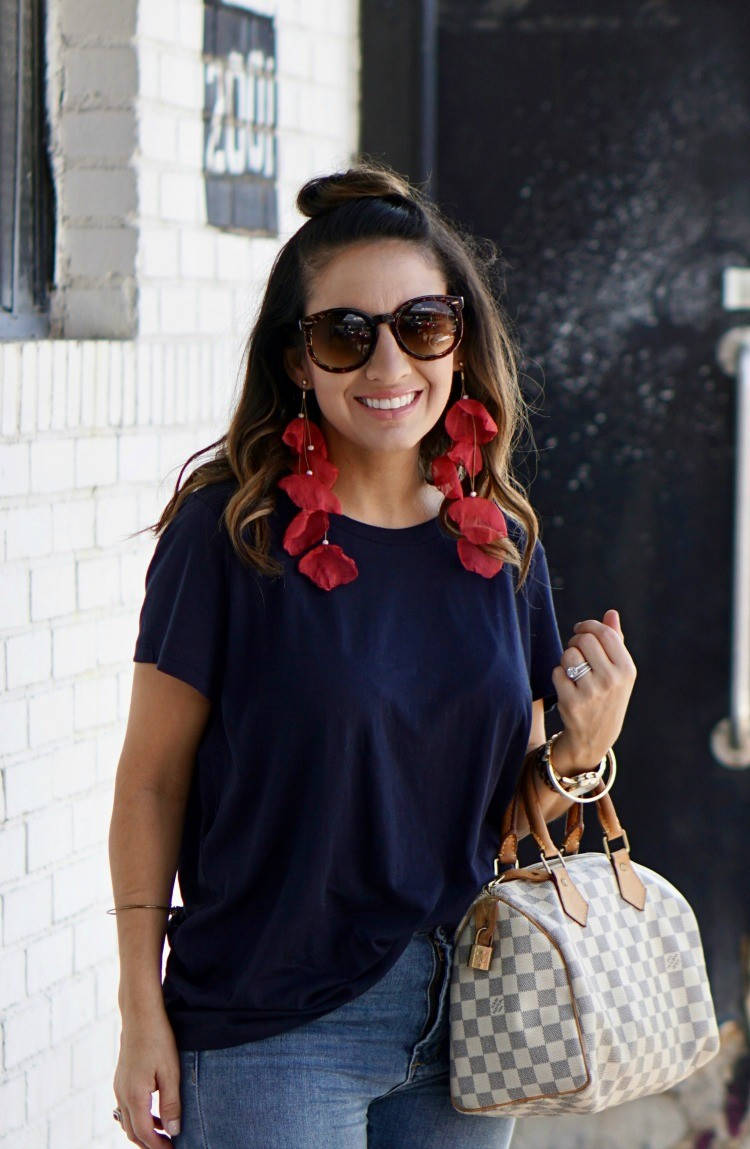 Cute casual outfit and statement earrings