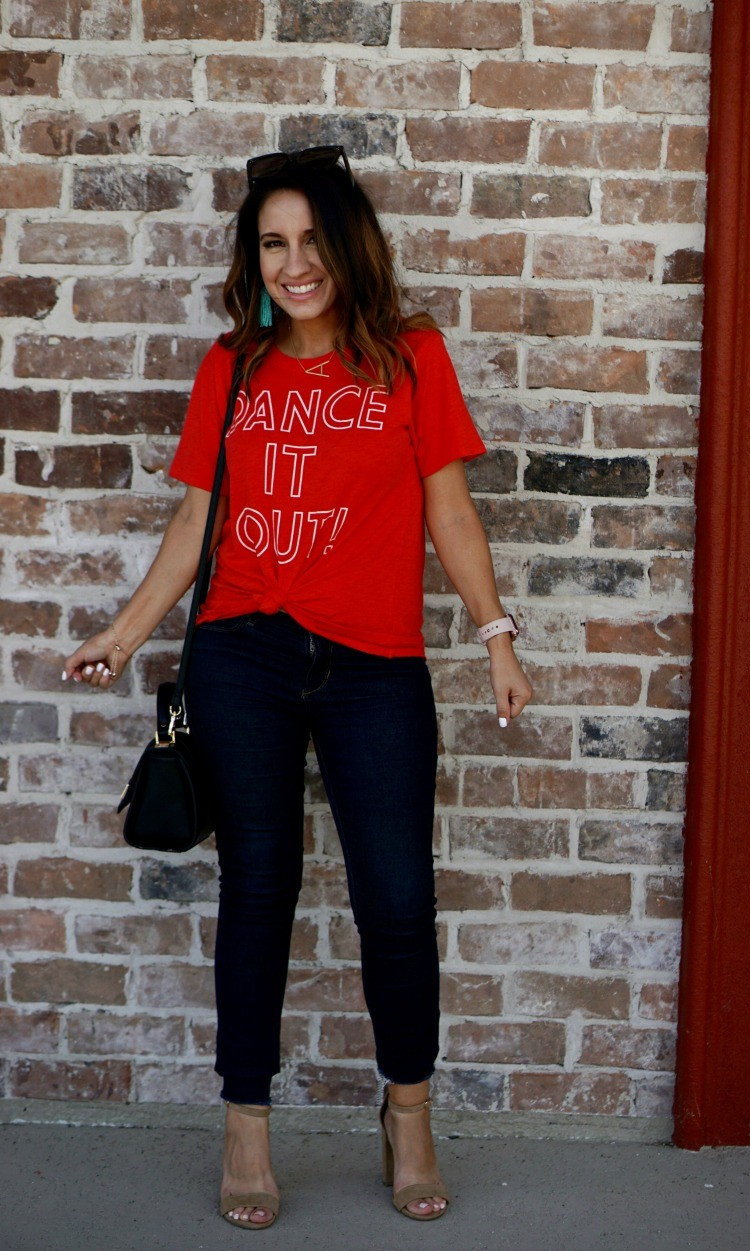 Dance It Out tee and dark skinny jeans