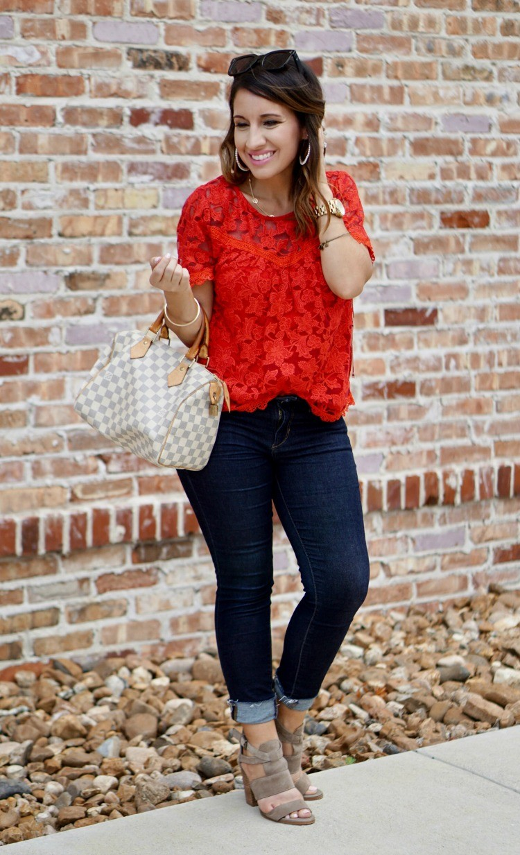 Red Willow and Clay Inset detail lace top, skinny jeans, and Louis Vuitton bag