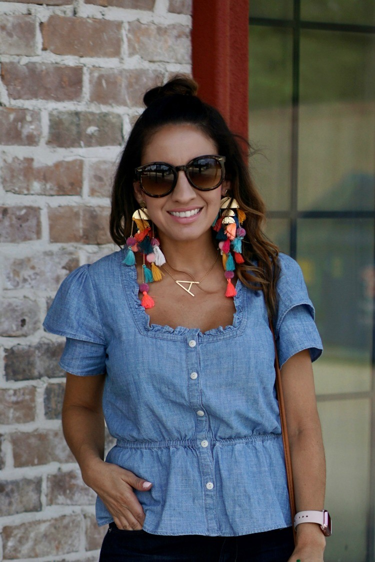 Stella and Ruby Statement earrings, chambray peplum top, and the half up topknot