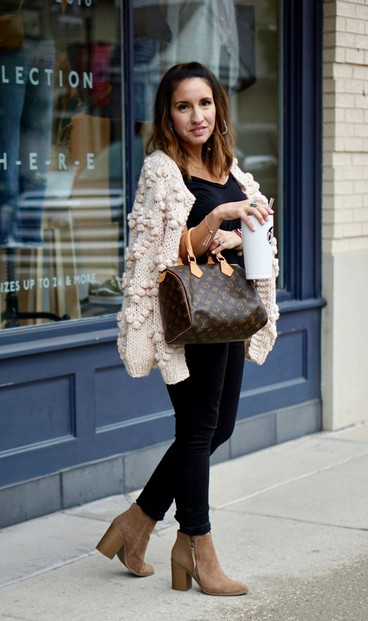 All black OOTD, Chicwish cardigan, and nude booties