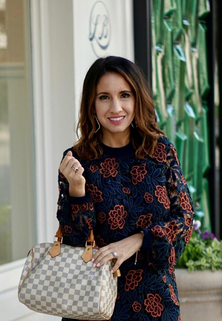 Floral dress and Louis Vuitton handbag