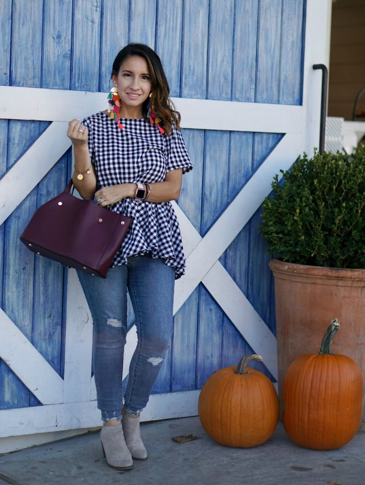 Gingham top and skinny jeans