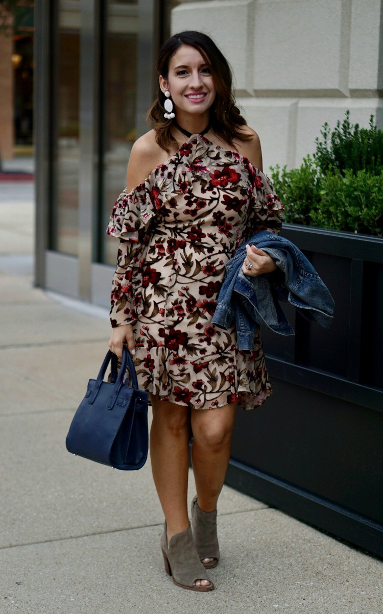 Off the shoulder floral ruffle mini dress, Ali & Jay drop it like its hot off the shoulder mini dress