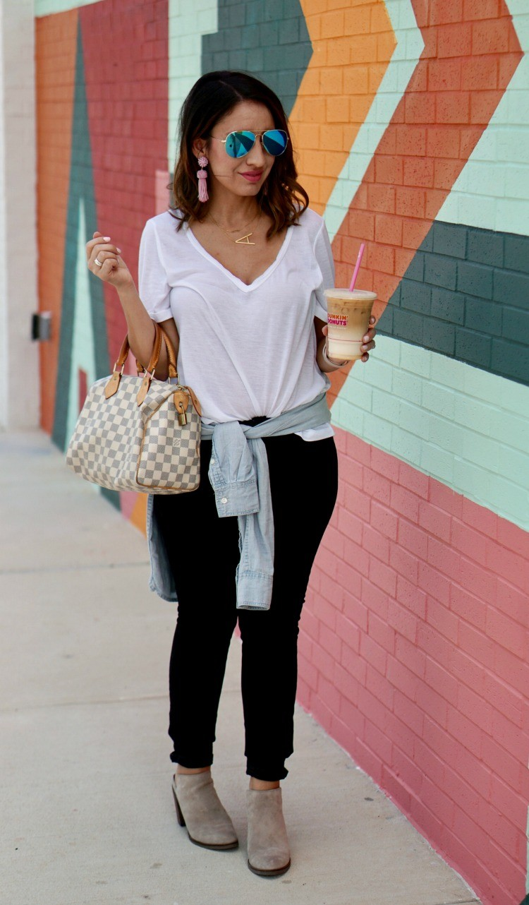 White tee, skinny jeans, and the perfect chambray top