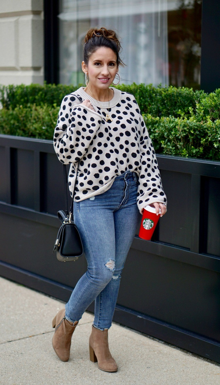 Leopard Dot Madewell Sweater, Skinny jeans, booties, and starbucks