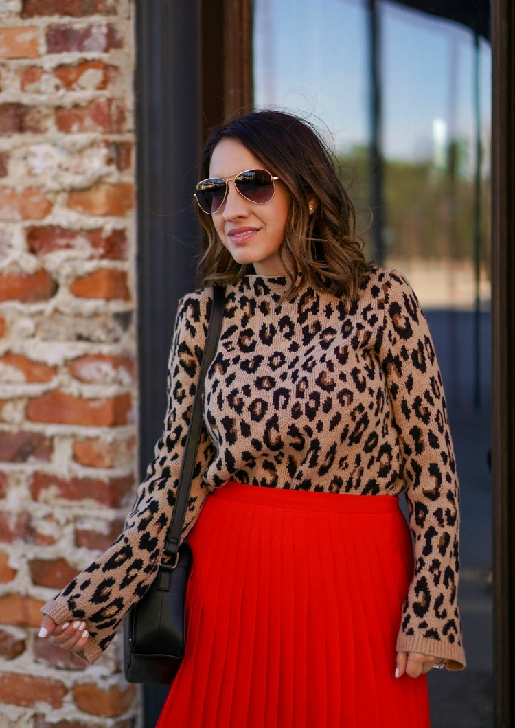 nimal Print Sweater, Pleated Skirt and Aviator Sunglasses
