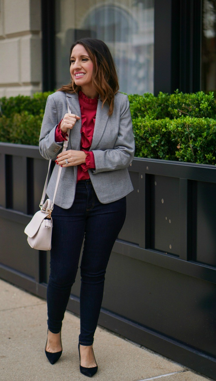Ann Taylor Blazer, Ruffle blouse, skinny jeans, and heels