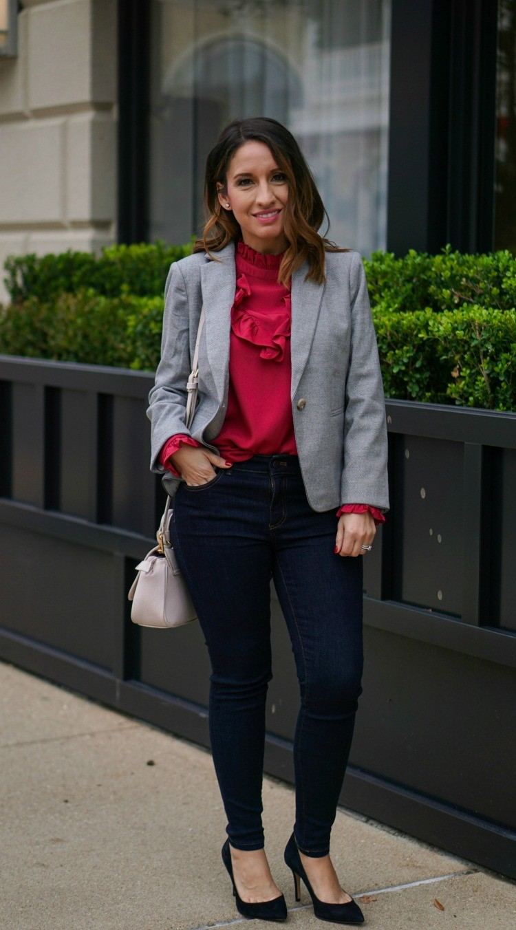 Ann Taylor Blazer and ruffle blouse with skinny jeans and black heels