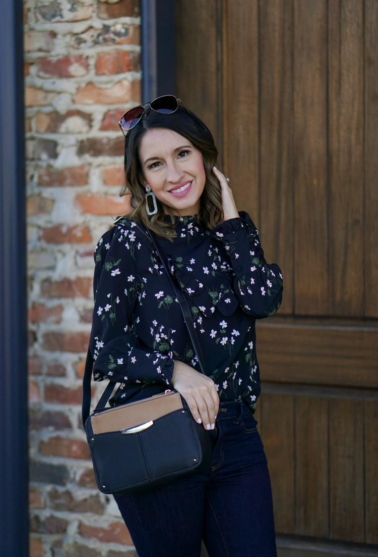Ann Taylor Floral Blouse and the Camera Bag / Handbag you need