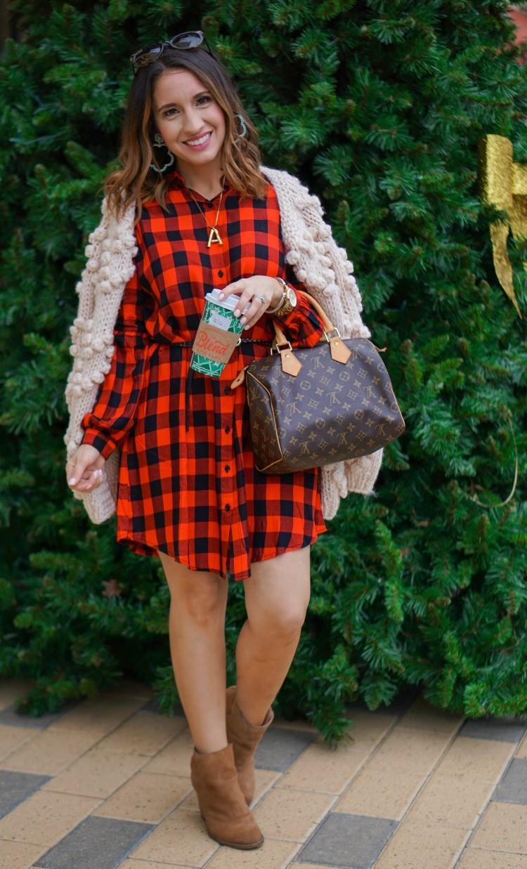 Buffalo Plaid Dress and the cutest cardigan