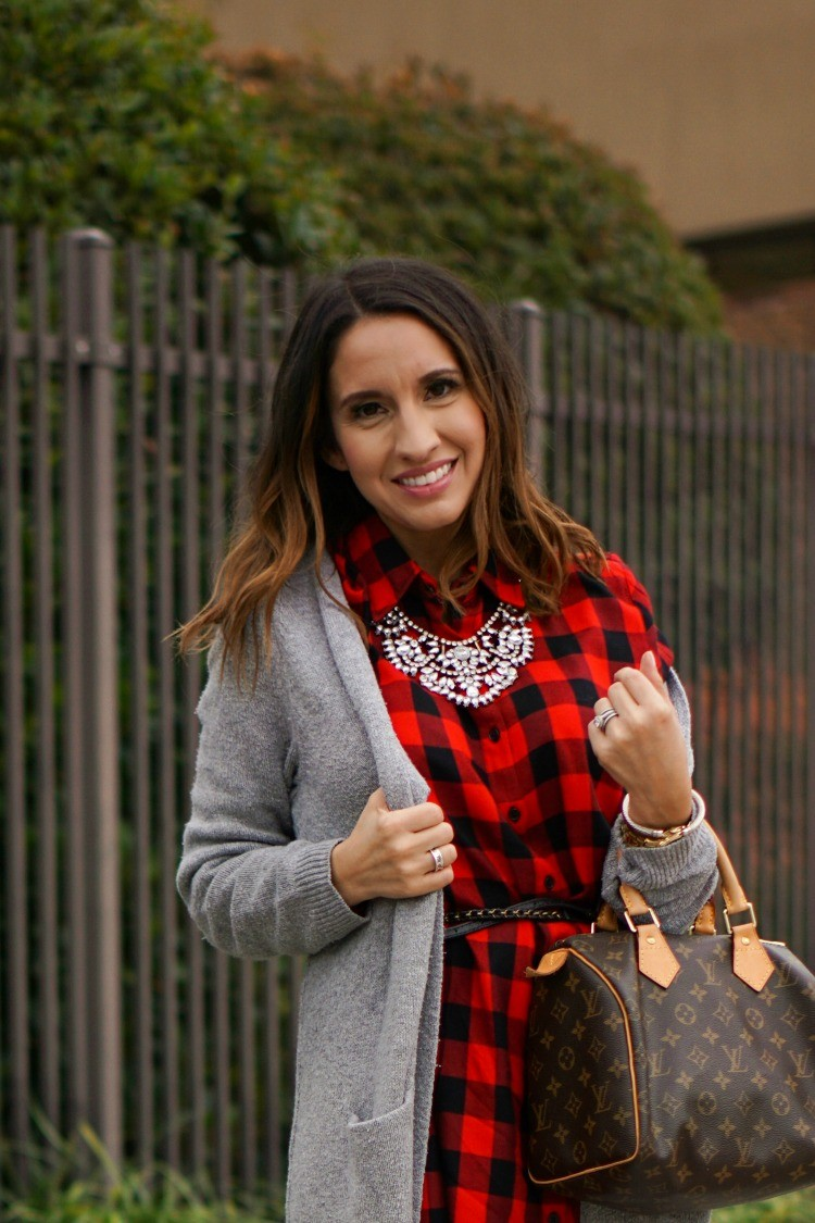 Cardigan, Buffalo Plaid dress and a statement necklace