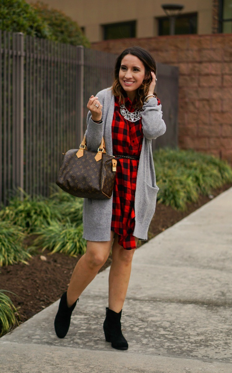 Cardigan, Red and Black Dress, and Booties