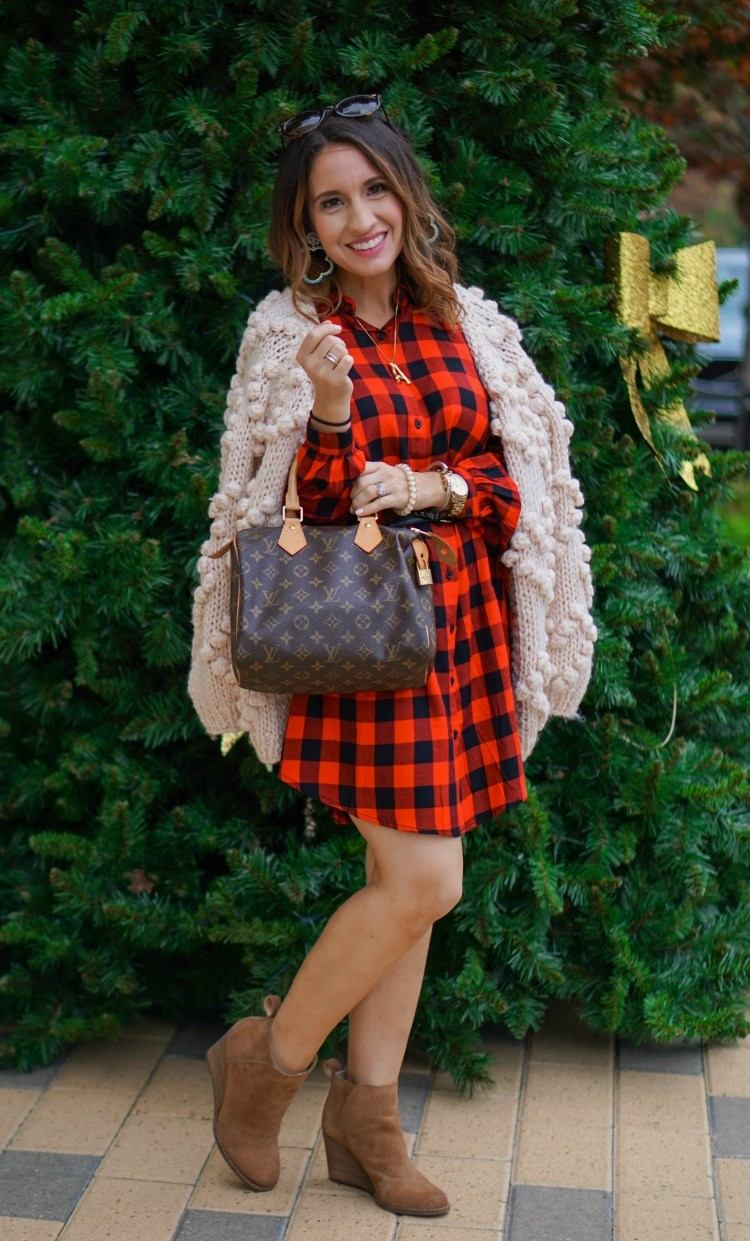 Chicwish knit cardigan, buffalo plaid dress, and nude booties