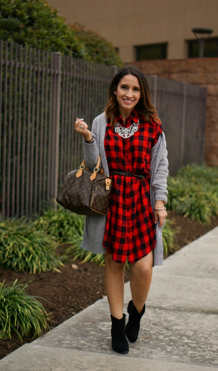 Statement necklace, buffalo plaid dress and booties