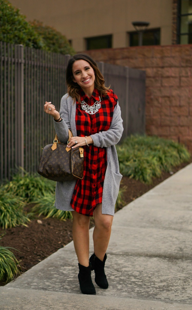 The cutest red and black buffalo plaid dress