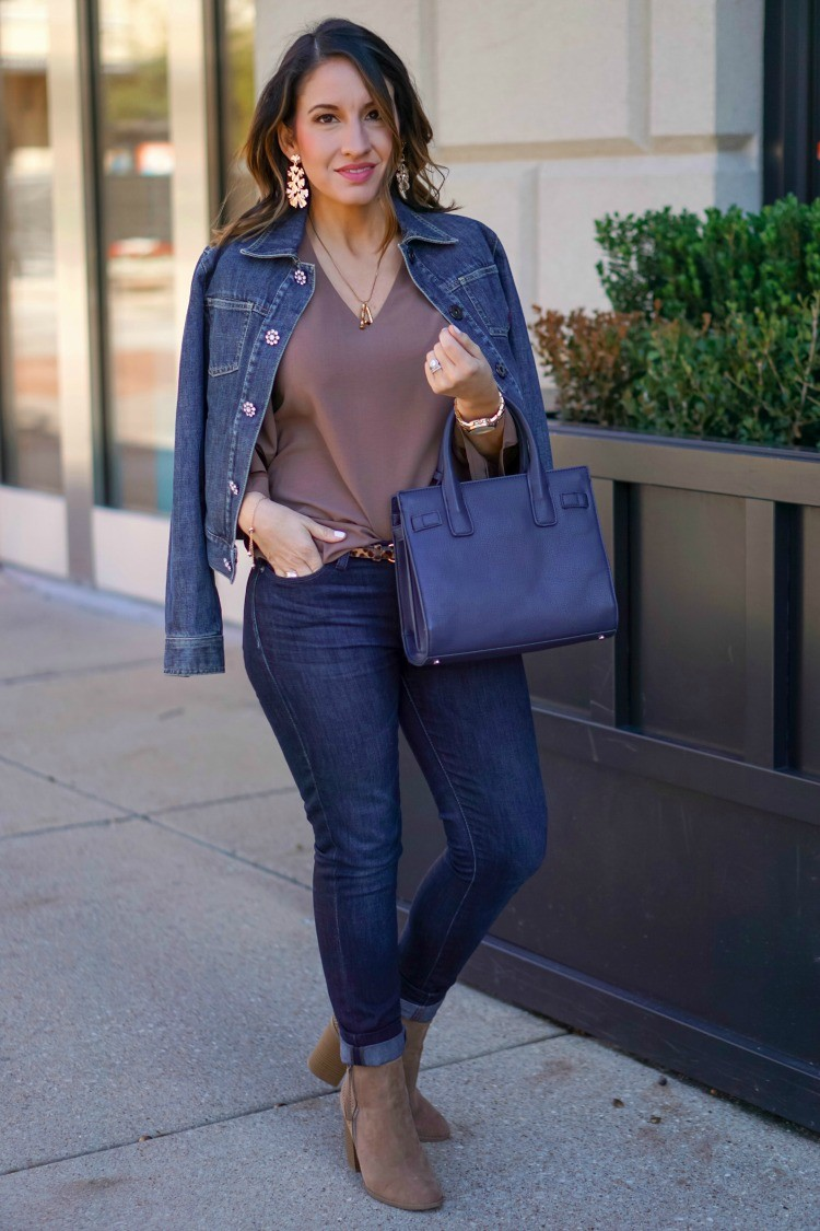 Jean Jacket, Statement Blouse, dark denim, and nude booties